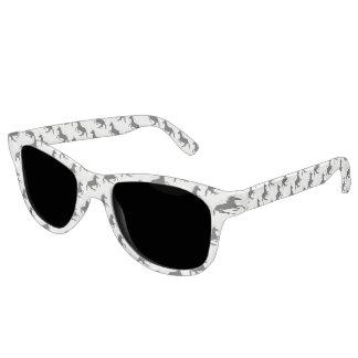 Magical Cute Unicorn Pattern Black on White Funny Sunglasses