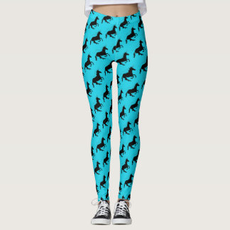 Magical Cute Unicorn Pattern Black Turquoise Funny Leggings