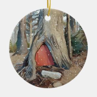 Magical Elf House Round Ceramic Decoration