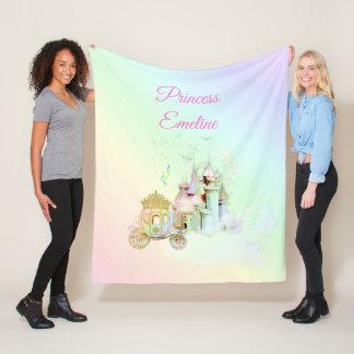 Magical Fairytale Rainbow Castle Princess Carriage Fleece Blanket