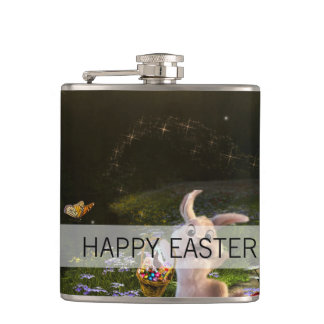Magical Fantasy Easter Bunny Scene Hip Flask
