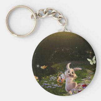 Magical Fantasy Easter Bunny Scene Key Ring