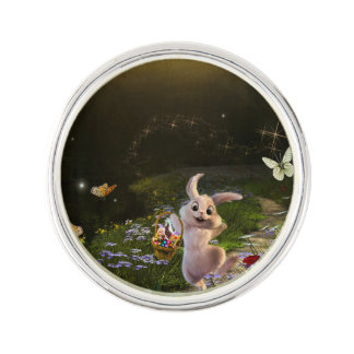 Magical Fantasy Easter Bunny Scene Lapel Pin
