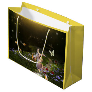 Magical Fantasy Easter Bunny Scene Large Gift Bag