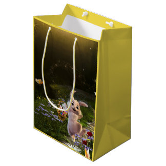 Magical Fantasy Easter Bunny Scene Medium Gift Bag