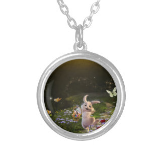 Magical Fantasy Easter Bunny Scene Silver Plated Necklace