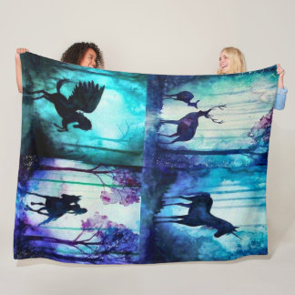 Magical Fantasy Forest Quilt Fleece Blanket