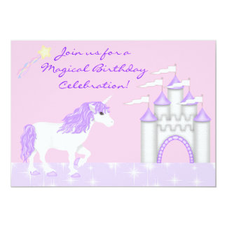 Magical Fantasy Unicorn Girl's Birthday 13 Cm X 18 Cm Invitation Card