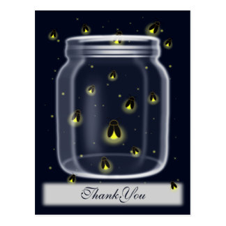 magical fireflies mason jar thank you cards postcard