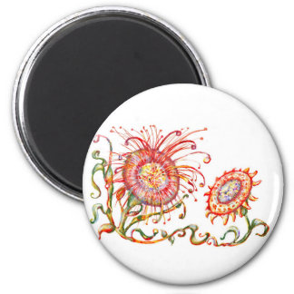 *Magical Flower* 6 Cm Round Magnet