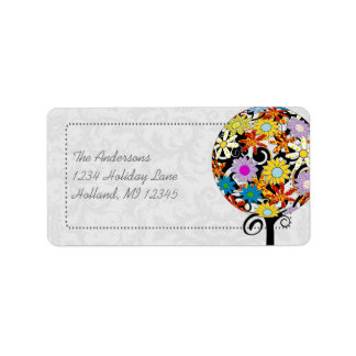 Magical Forest Circle of Love Flower Tree Wedding Address Label