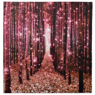 Magical Forest Path Pink Peach Napkin