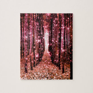 Magical Forest Peach Pink Jigsaw Puzzle