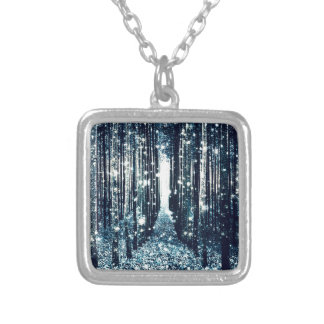 Magical Forest Teal Gray Elegance Silver Plated Necklace