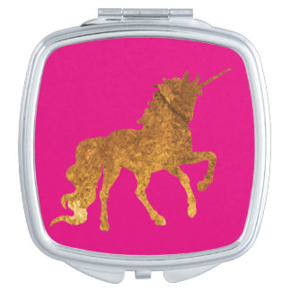 Magical Golden Prancing unicorn in textured finish Compact Mirror