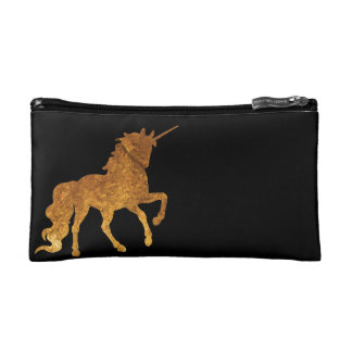Magical Golden Prancing unicorn in textured finish Cosmetic Bag
