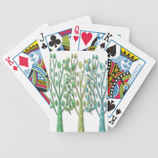 Magical green trees bicycle playing cards