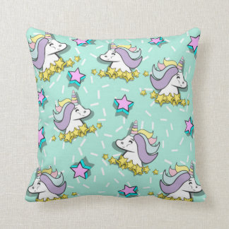Magical Happy Unicorn And Stars Cushion