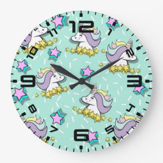 Magical Happy Unicorn And Stars Large Clock