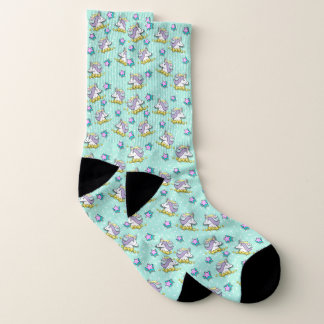 Magical Happy Unicorn And Stars Socks