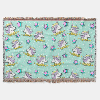 Magical Happy Unicorn And Stars Throw Blanket