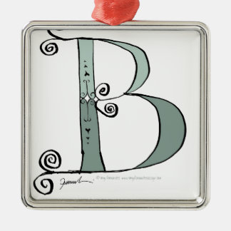 Magical Letter B from tony fernandes design Silver-Colored Square Decoration