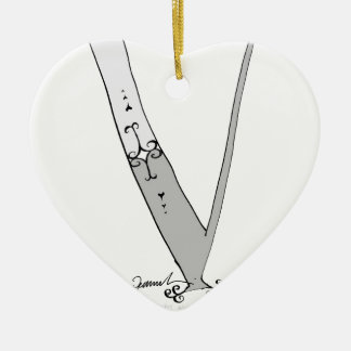 Magical Letter V from tony fernandes design Ceramic Heart Decoration