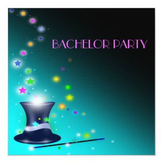 Magical Magicians Hat Bachelor Party Invitation