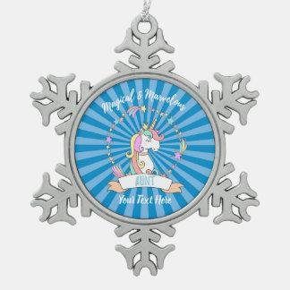 Magical Marvelous Aunt  - Unicorn Princess Snowflake Pewter Christmas Ornament