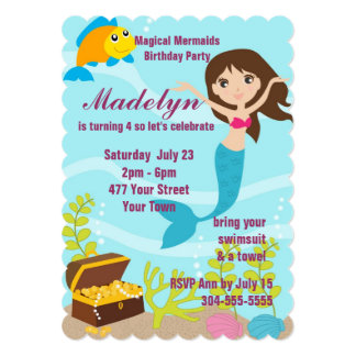 Magical Mermaids Pool Party 13 Cm X 18 Cm Invitation Card
