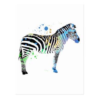 Magical Multi Coloured Zebra Spray Paint style Postcard
