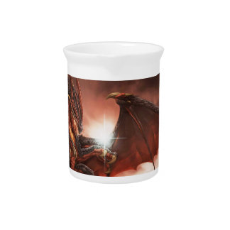 Magical & Mystical Fantasy Flying Dragon Heart Pitcher