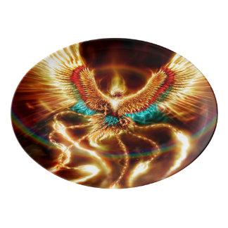 Magical & Mystical Fantasy Flying Fire Phenix Porcelain Serving Platter