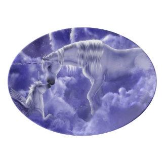 Magical & Mystical Fantasy Unicorns Night Sky Porcelain Serving Platter