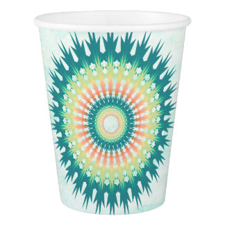 Magical Mystical Mandala Turquoise Orange Cups