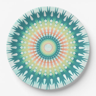 Magical Mystical Mandala Turquoise Orange Plates