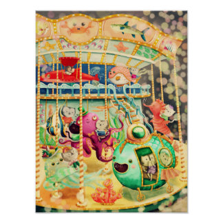 Magical Nautical Carousel Poster
