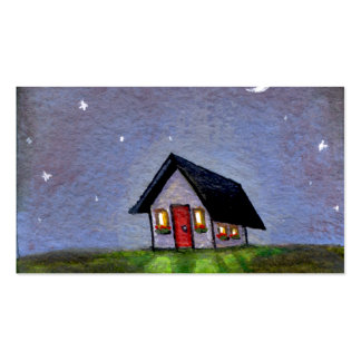 Magical night cottage art starry sky fun painting pack of standard business cards