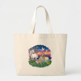 Magical Night - Golden Retriever (#10) Large Tote Bag