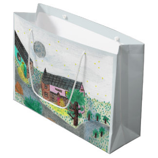 Magical Night Nighttime Scene Large Gift Bag