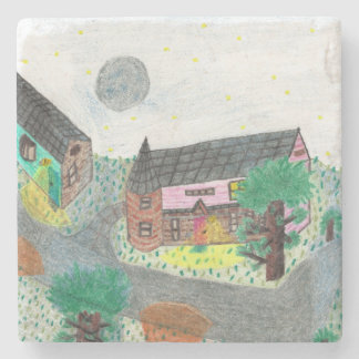 Magical Night Nighttime Scene Stone Coaster