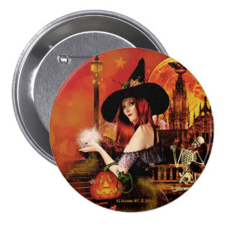 Magical Night Witch Round Button Pin