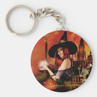 Magical Night Witch Round Keychain