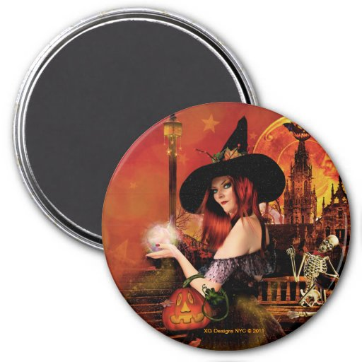 Magical Night Witch Round Magnet