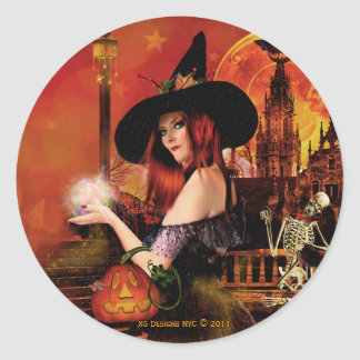 Magical Night Witch Round Stickers