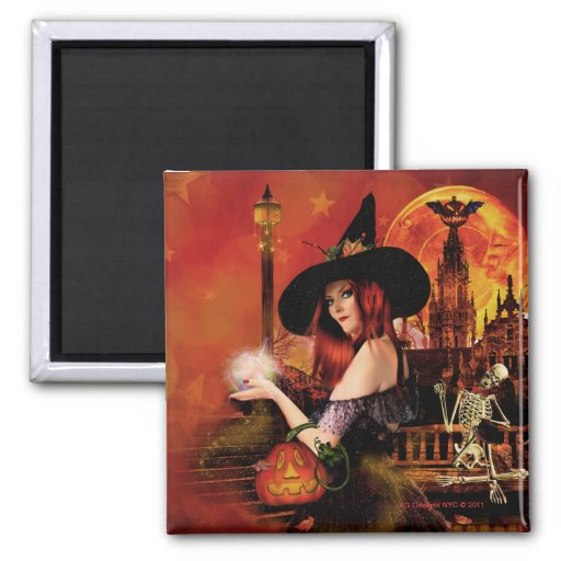 Magical Night Witch Square Magnet