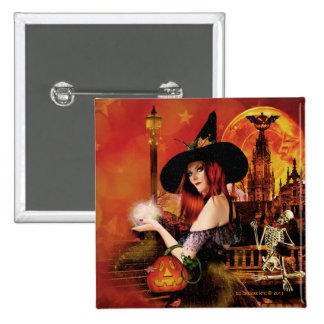 Magical Night Witch Square Pin