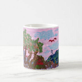 Magical pink landscape with figures mug
