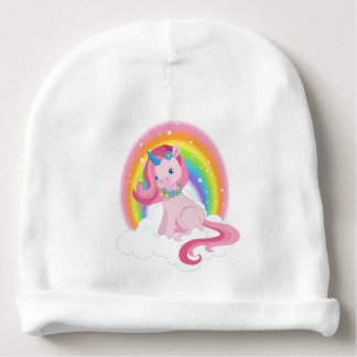 Magical Pink Unicorn & Rainbow Baby Cotton Beanie Baby Beanie
