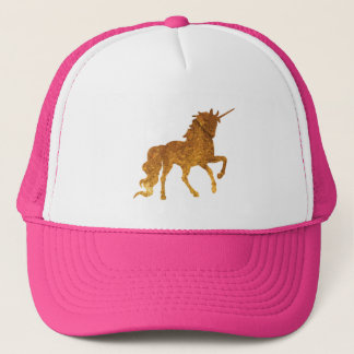 Magical prancing golden unicorn party gift trucker hat